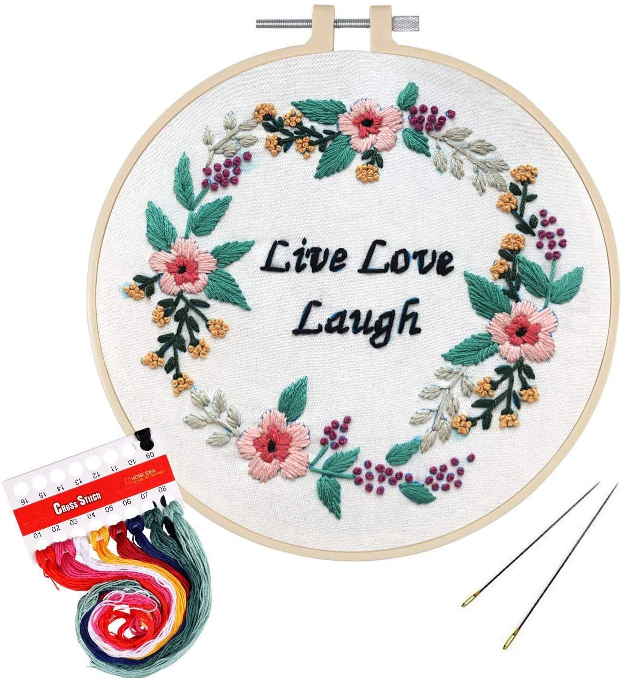 Full Range of Embroidery Kit with Pattern, Hartop Cross Stitch Starter Kit Including Embroidery Cloth with Plants Pattern,Plastic Hoop, Color Threads and Tools Kit (Love)