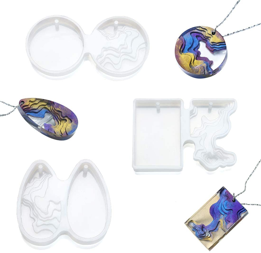 FineInno 3Pcs Ocean Resin Molds Island Silicone Molds Jewelry Molds for Epoxy Resin Pendents Necklace with Holes, DIY Resin Pour Crafts Set (3Pcs Island Molds)