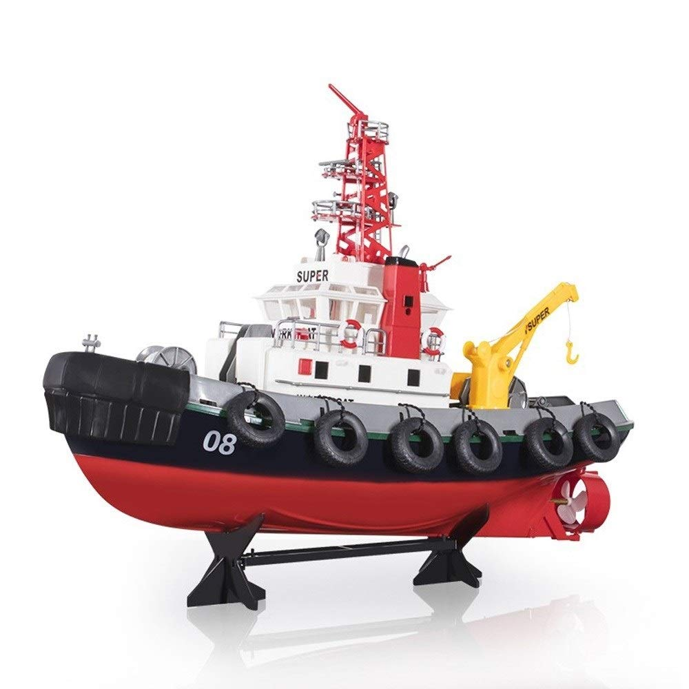 URVP American fire ship Electric toy Remote Control Boats 2.4 GHz Giant 60cm 4 channels Pools and Lakes Rc Boat seaport work boat for Lakes/Pools/Ponds (Only Works in Water),Adults or Kids,Boys or Gir
