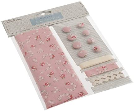 Cotton Fabric, Button & Trim Craft Set Pink Ditsy - per pack