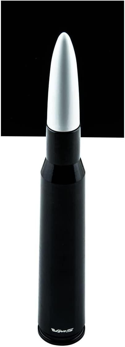 VMS RACING 50 Cal Caliber Black White TIP Bullet Antenna in Heavy Gauge Billet Aluminum Short Compatible with Ford Raptor