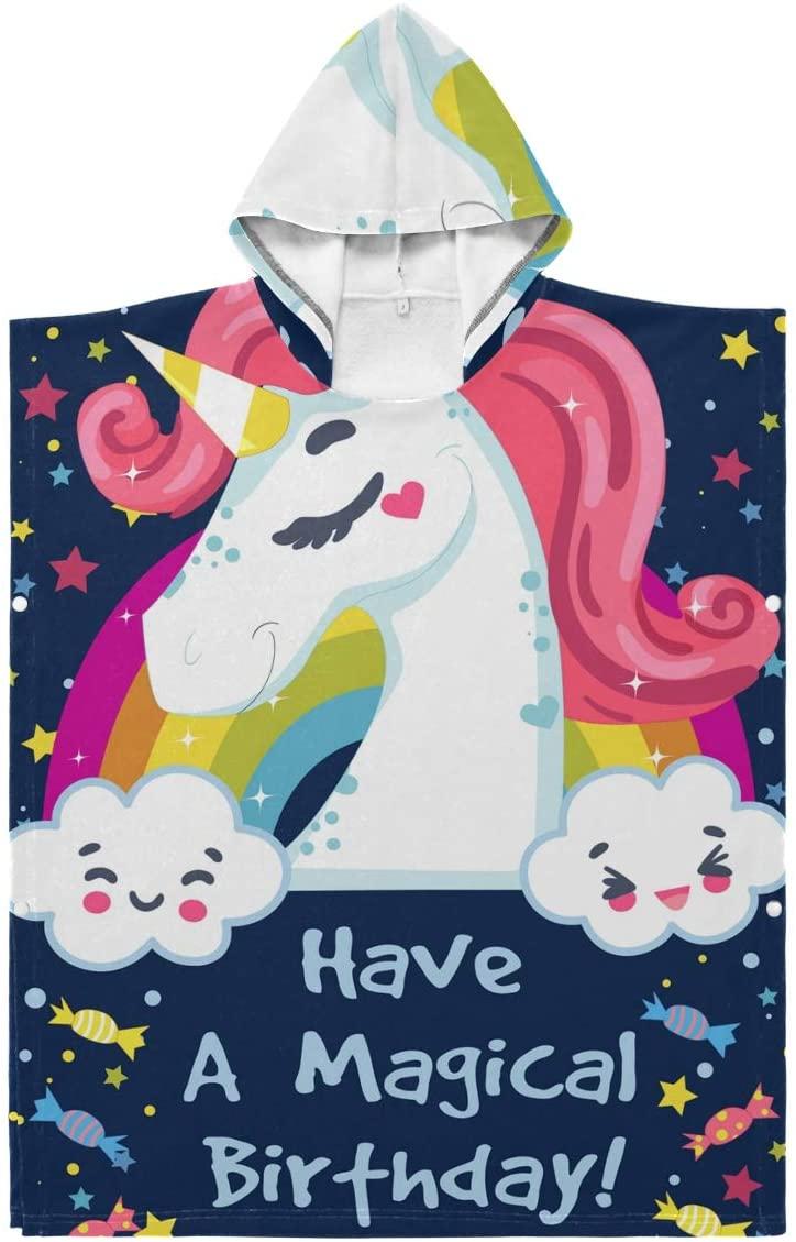 LORONA Kids Teens Polyester-Cotton Blend Birthday Card with Unicorn and Message Beach Towel Cloak Blanket Wearable Hooded Blanket Hoodie Cloak