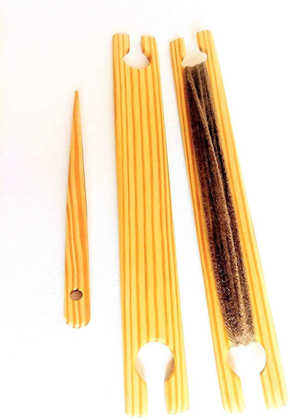 2 Pack of 8 Inch Weaving Stick Shuttles Free Weaving Needle 3 Tools Total