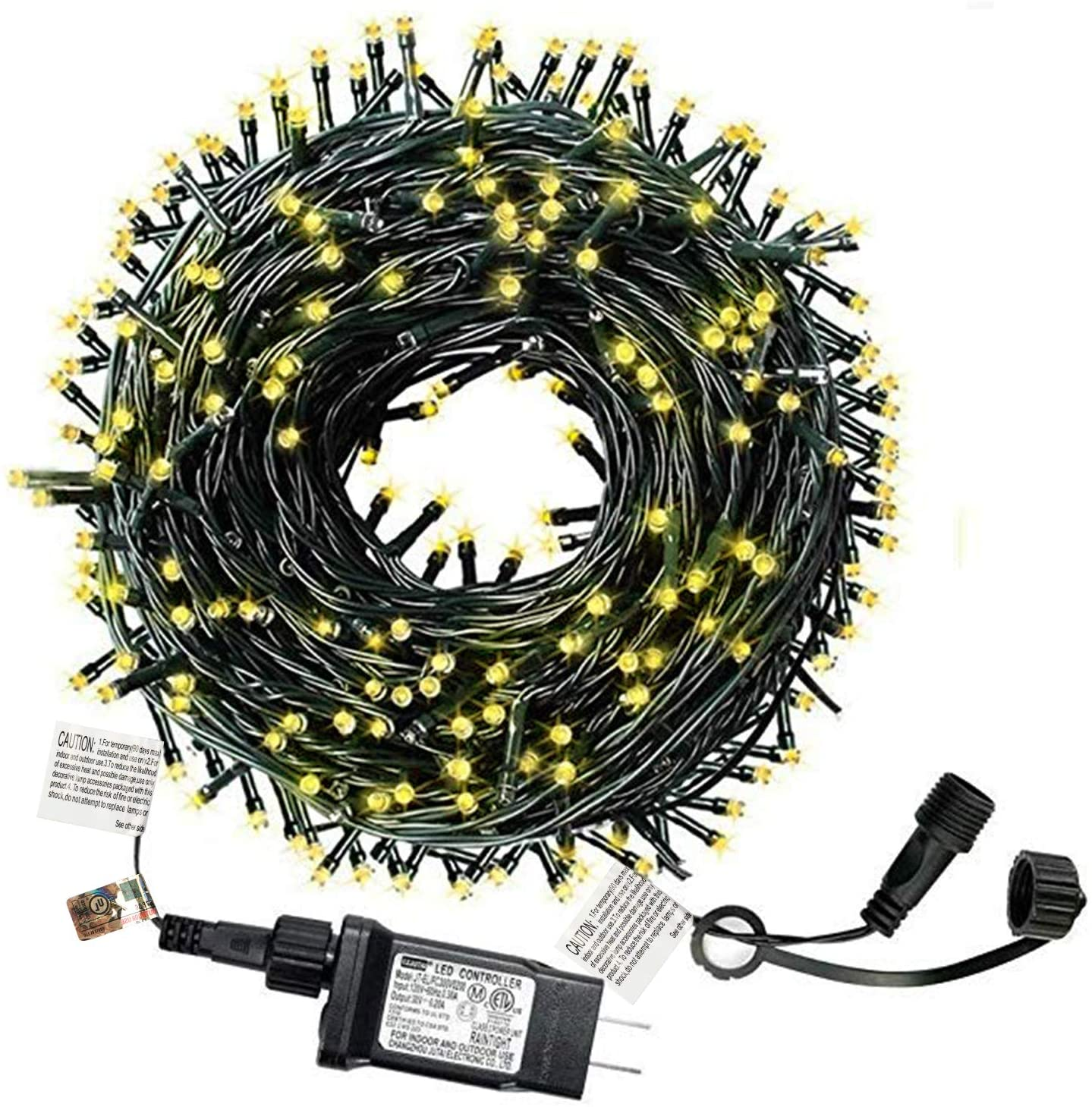 Christmas Tree Lights 108FT 300LED Outdoor Christmas Lights Waterproof IP65 UL Certificated End-to-End Connectable Patio Outdoor Christmas Lights Indoor Christmas Tree Lights (Warm White)