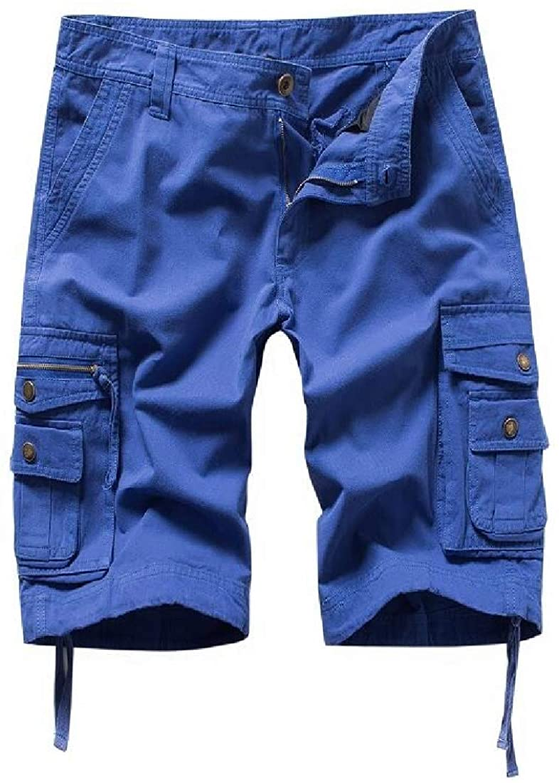 SELX Men Solid Color Cotton Ripstop Casual Multi-Pockets Loose Fit Shorts Cargo Shorts
