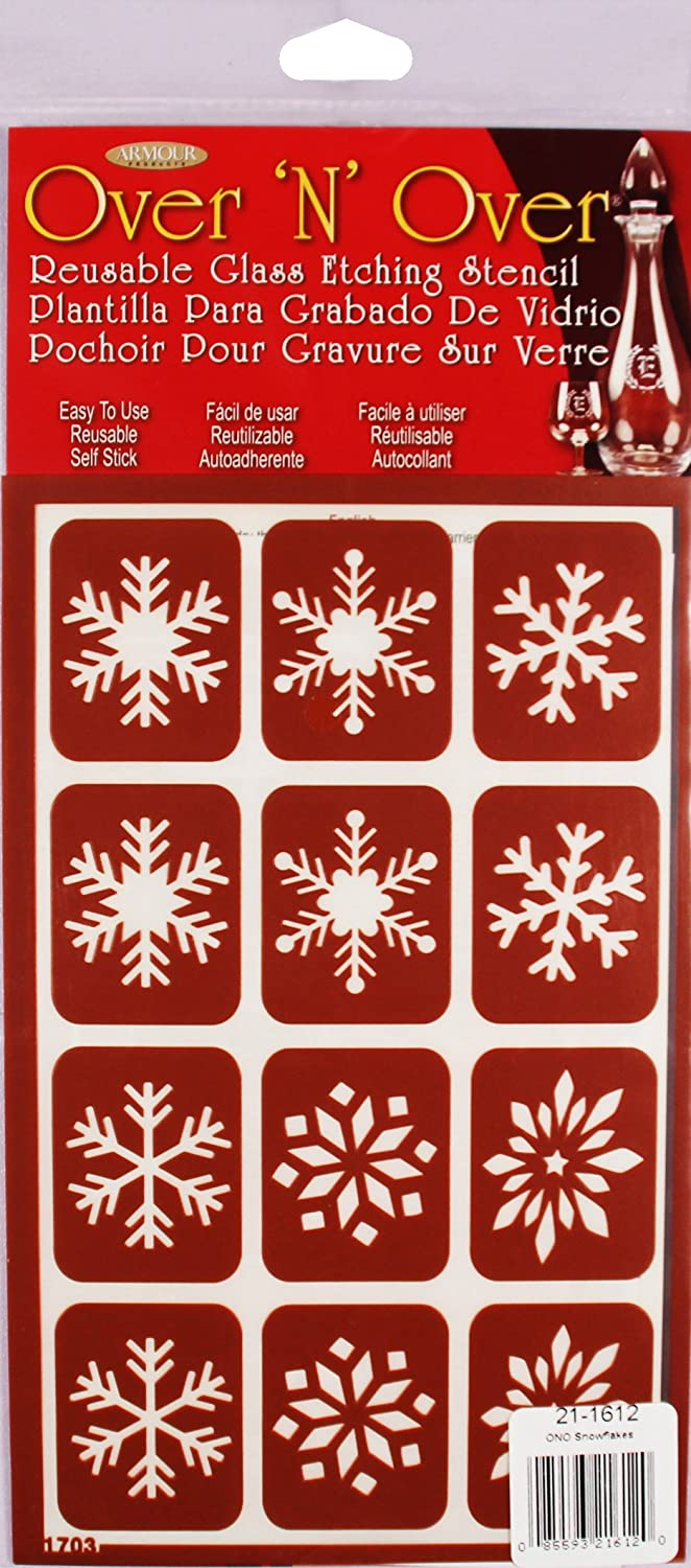 Armour Etch Over N Over Stencil, Snowflakes