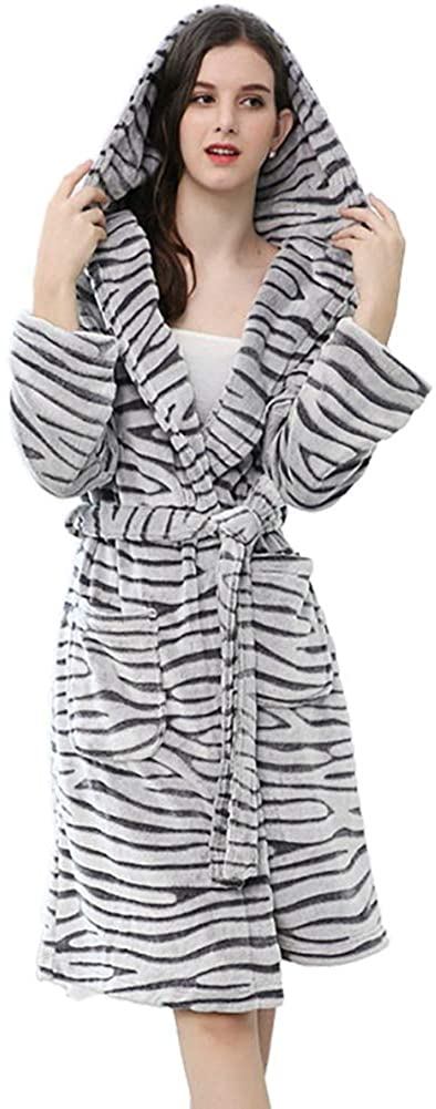 Womens Plush Fleece Hooded Robe, Thicken Warm Kimono Bathrobe Zebra Pattern Medium Length Sleepwear