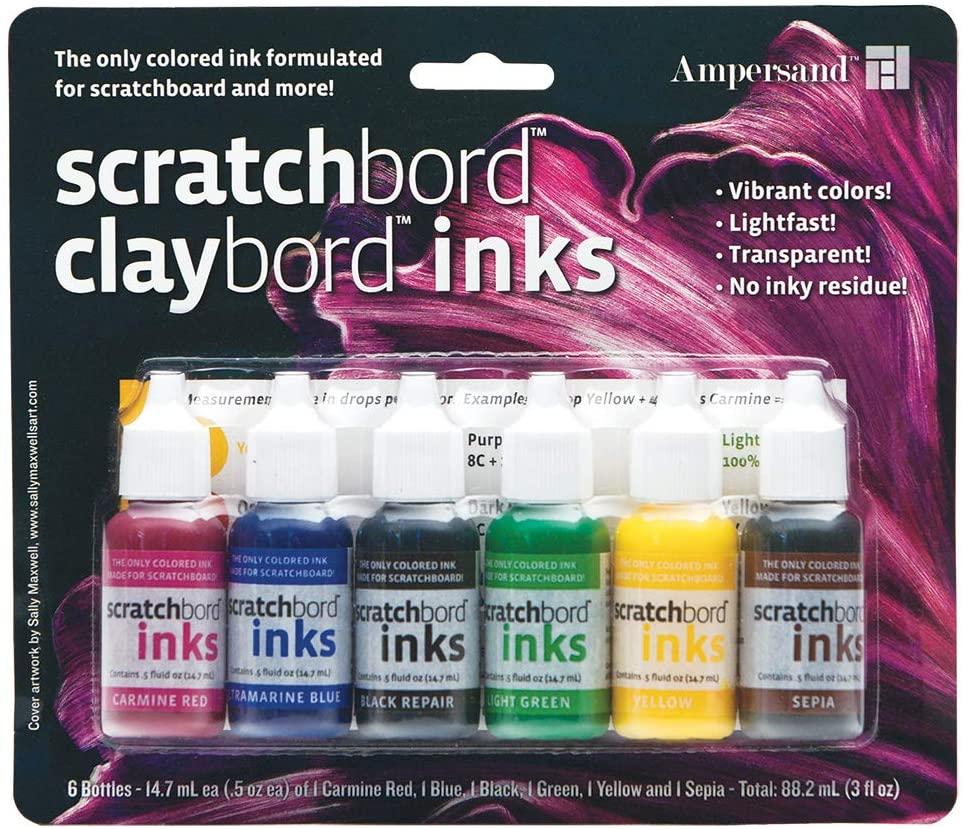 Ampersand Claybord/Scratchbord Ink Set Of 6, Multi,