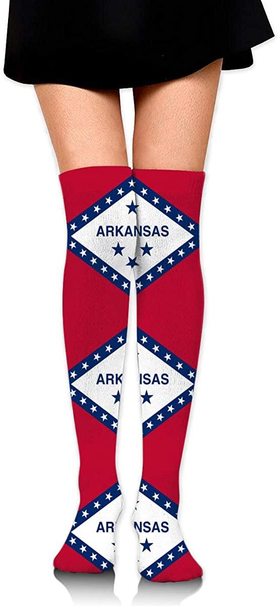 Knee High Socks Arkansas Flag Womens Athletic Over Thigh Long Stockings