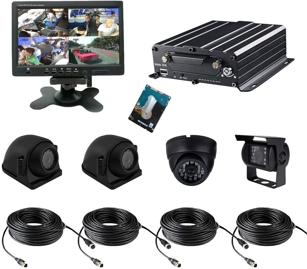 TrackSec 4 Channel AHD 720P HDD Mobile DVR Camera System Car Black Box Kit Support 4G Real-time Monitoring, GPS Tracking, G-sensor, 2TB Hard Drive Backup, 4 AHD Cameras and More