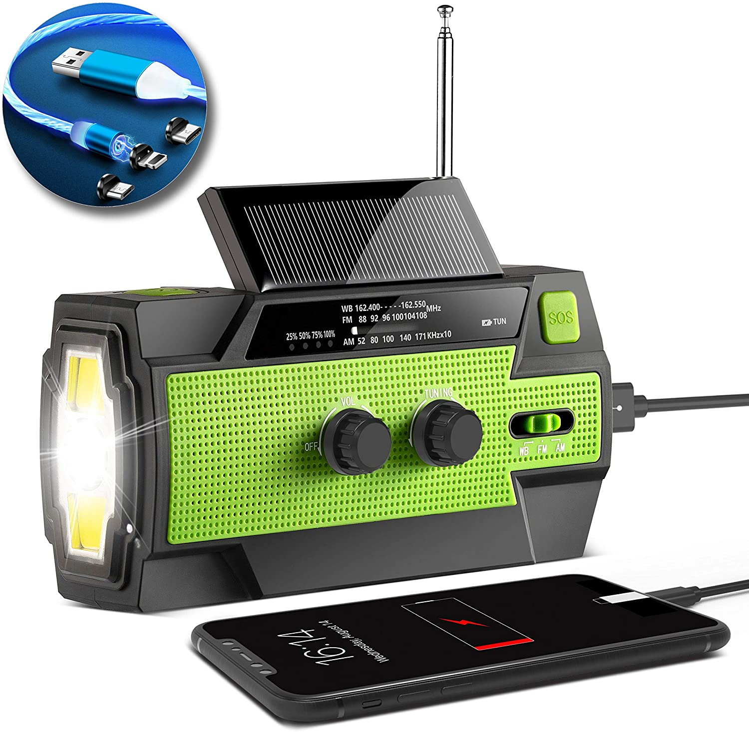 [2020 Version] Hand-Crank-Radio,4000mAh Portable Weather Solar Radios with Motion Sensor Reading Lamp,3 GearLED Flashlight,SOS Alarm,Cell Phone Charger,AM/FM/NOAA + Free Stylish 3 in 1 Fast Cable