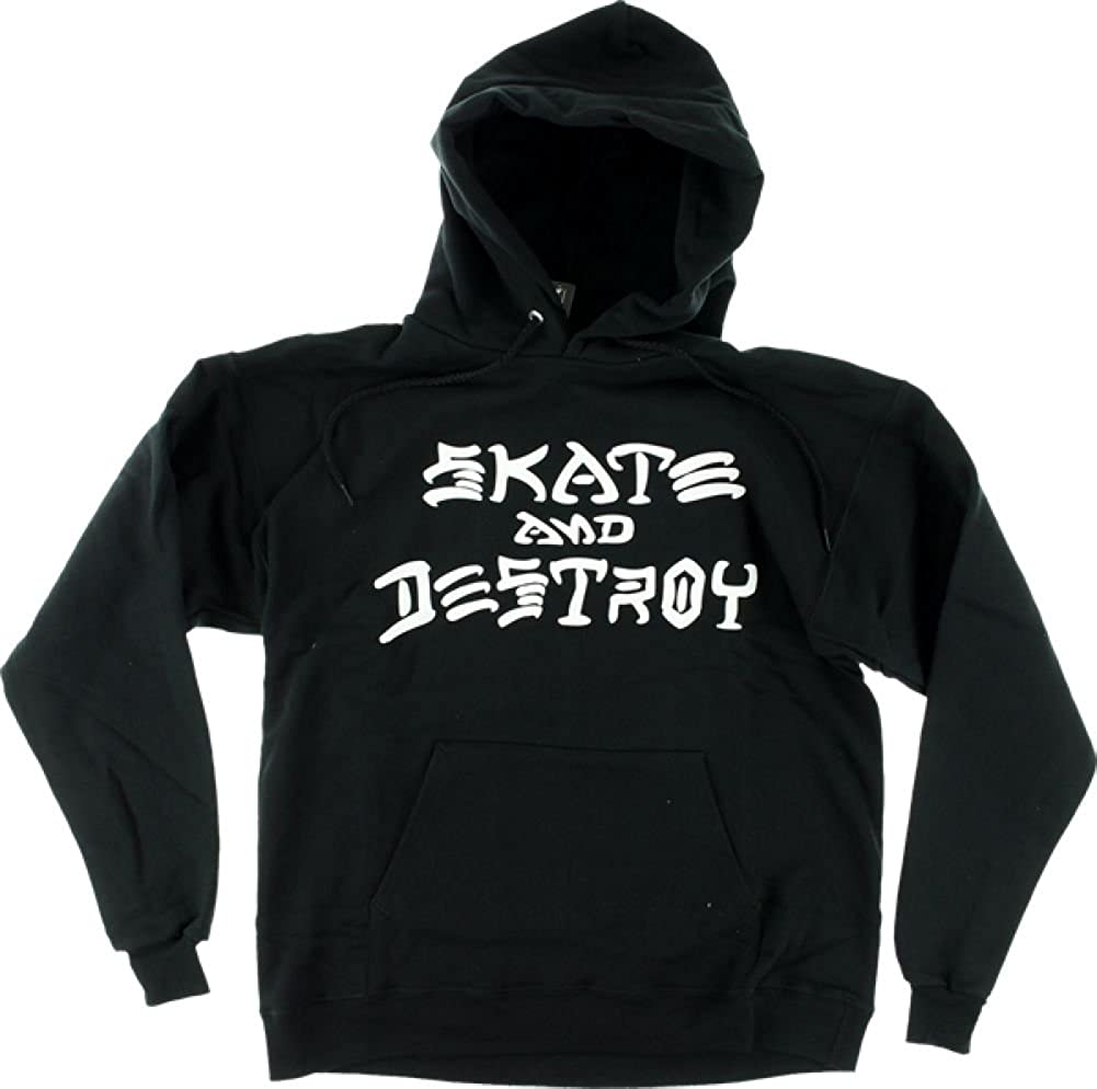 Thrasher Magazine Skate and Destroy Black Hooded Sweatshirt - Small