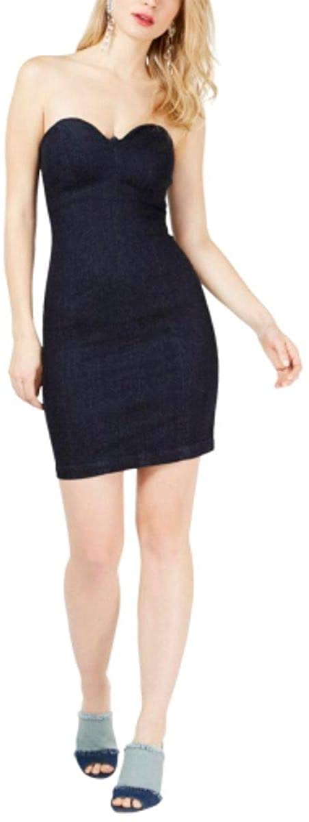 GUESS Womens Deco Denim Strapless Bodycon Dress