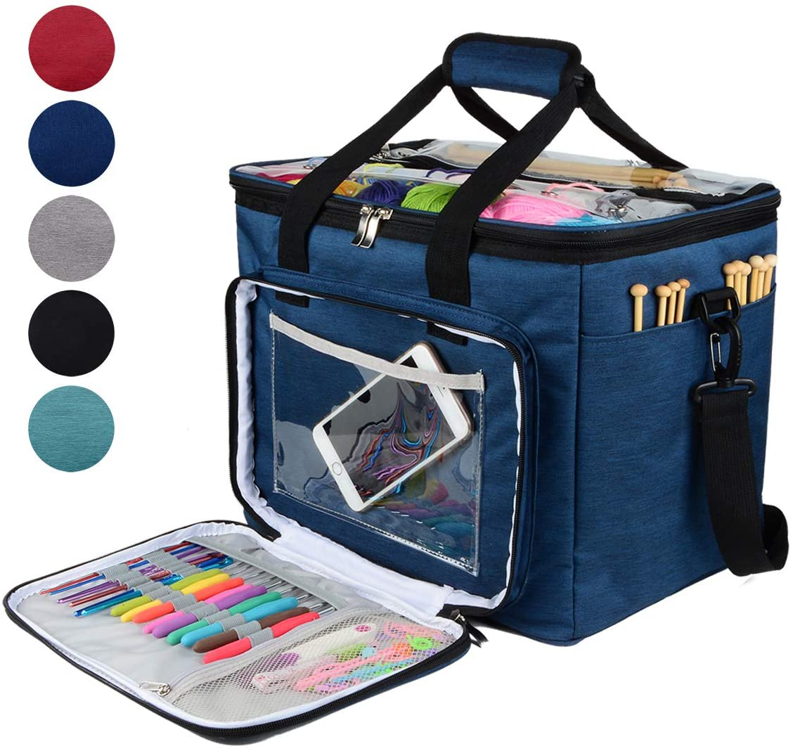 """Hoshin Knitting Bag for Yarn Storage, High Capacity Yarn Totes Organizer with Inner Divider Portable for Carrying Project, Knitting Needles(up to 14""""), Crochet Hooks, Skeins of Yarn (Navy)"""