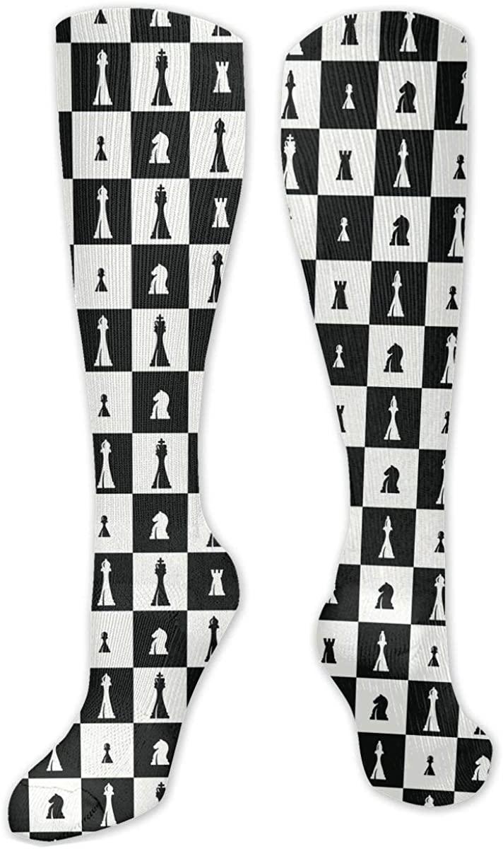 Knee High Socks For Men Women Chessboard Chess Set Pieces Board Hose Stockings