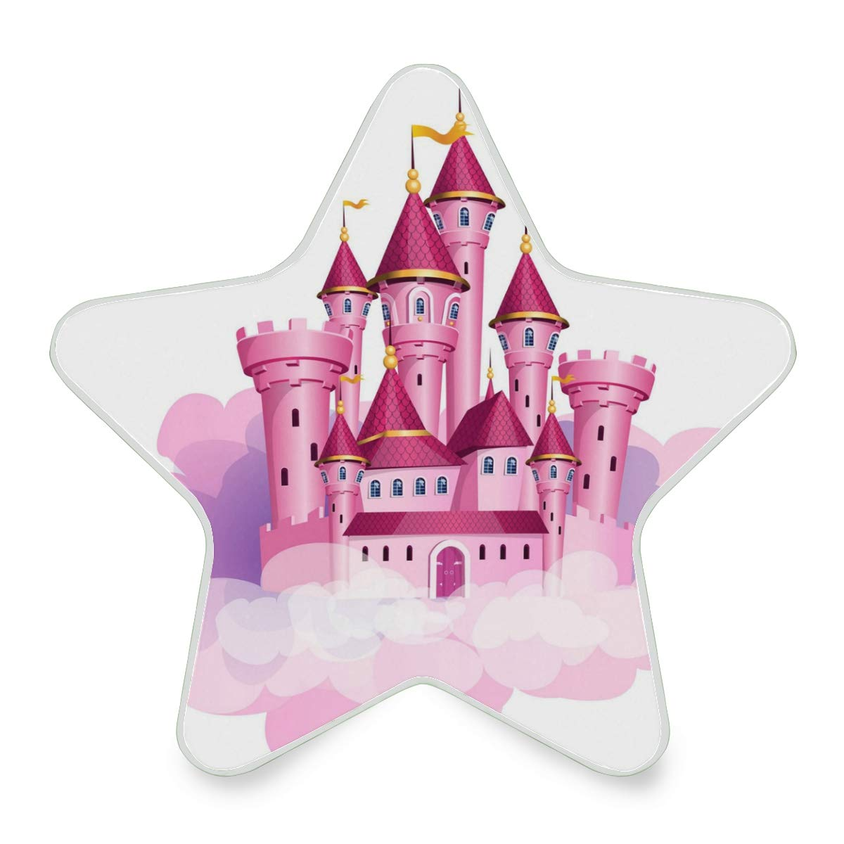LED Night Light Pink Princess Magic Castle Nightlight Decorative Star Pentagram Shaped Plug in for Kids Baby Girls Boys Adults Room