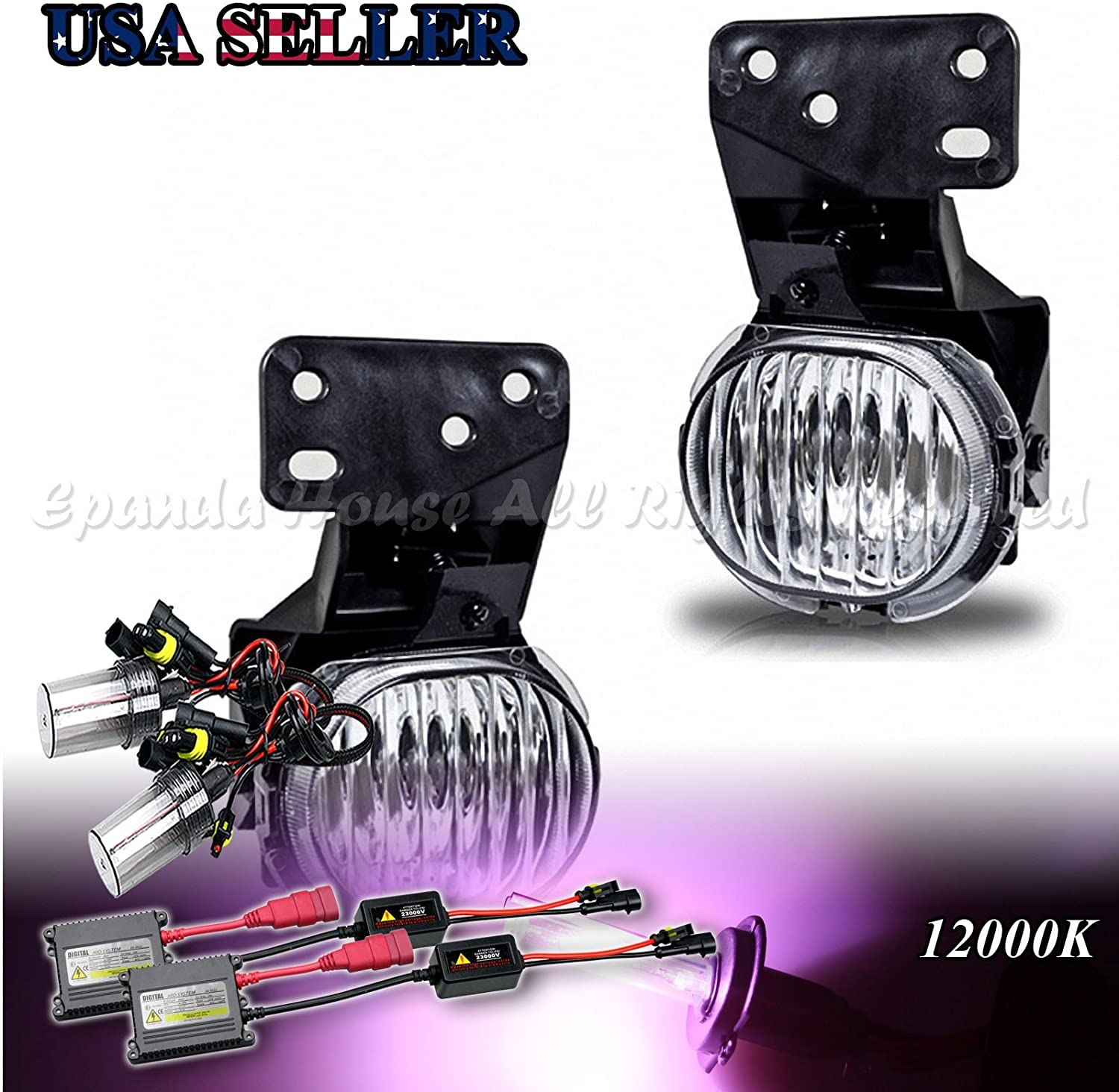 EpandaHouse Fog Lights Assemblies For 97-03 Chevy Malibu/04-05 Classic Clear Lens DOT/SAE s+12000K Slim HID Kit