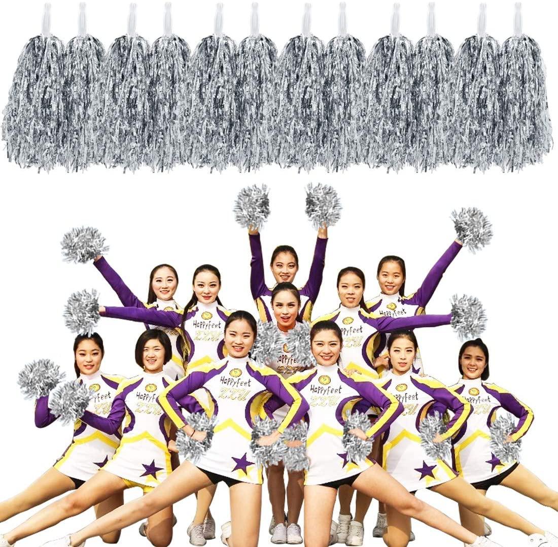 MOAMUN 24PCS Cheerleading Pom Poms for Cherring Squad, Plastic Metallic Cheerleader Foil Pompoms with Handle for Sports Team Spirit Cherring Party Dance Decoration