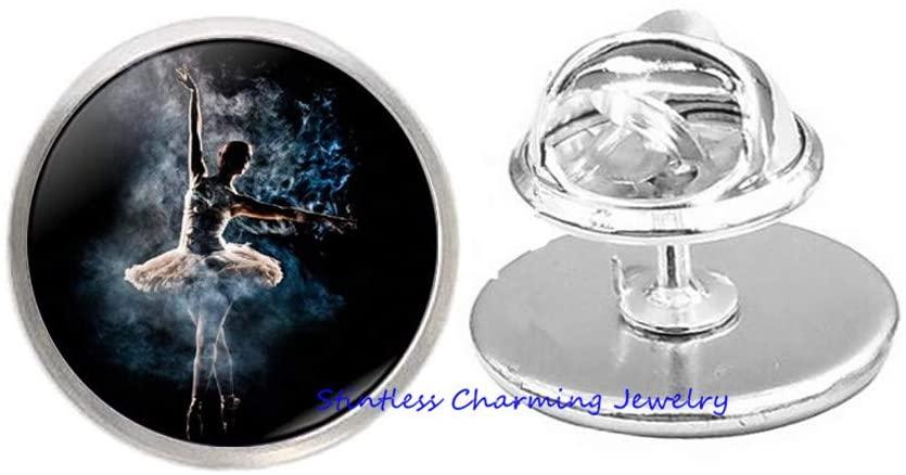 Ballet Dancer, Ballerina Brooch,Ballet Brooch, Ballerina Jewelry, Ballet Gift, Dance Brooch, Art Glass Dome Pin-JV160