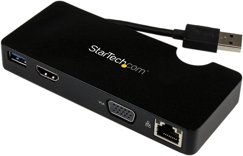 StarTech.com USB 3.0 to HDMI or VGA Adapter Dock - USB 3.0 Mini Docking Station w/USB, GbE Ports - Portable Universal Laptop Travel Hub (USB3SMDOCKHV), Black