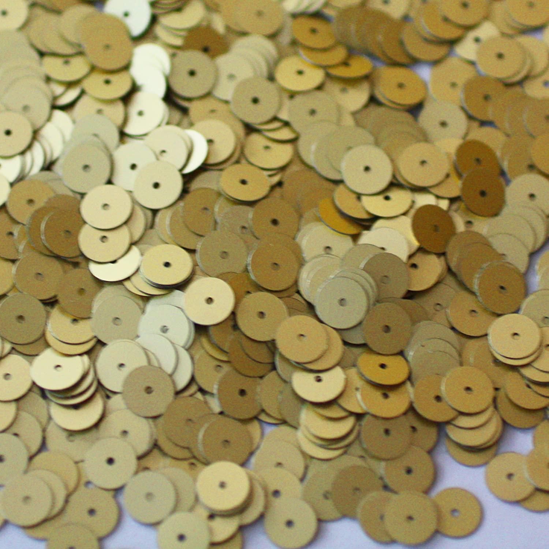 8mm Flat Round Sequin Paillettes ~ Matte Gold~ Loose Sequins for Embroidery, Bridal, Applique, Arts,