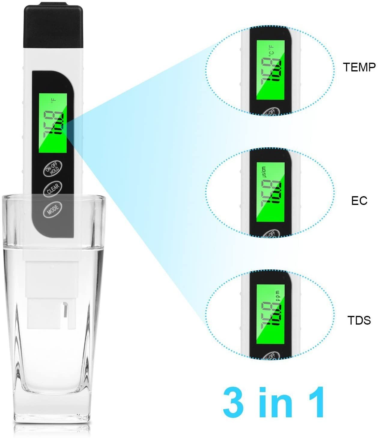 YLANK Water Quality Tester, TDS Meter Digital, EC Meter & Temperature Meter 3 in 1,Accurate TDS Range 0-9990ppm, Ideal Water Test Meter for Drinking Water, Aquariums, etc.