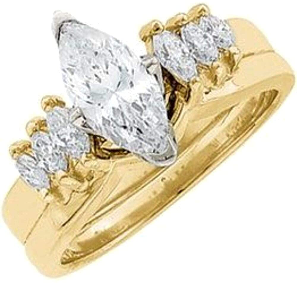 Bonyak Jewelry 14k Yellow Gold 1/3 CTW Diamond Wrap-Style Enhancer Ring - Size 6