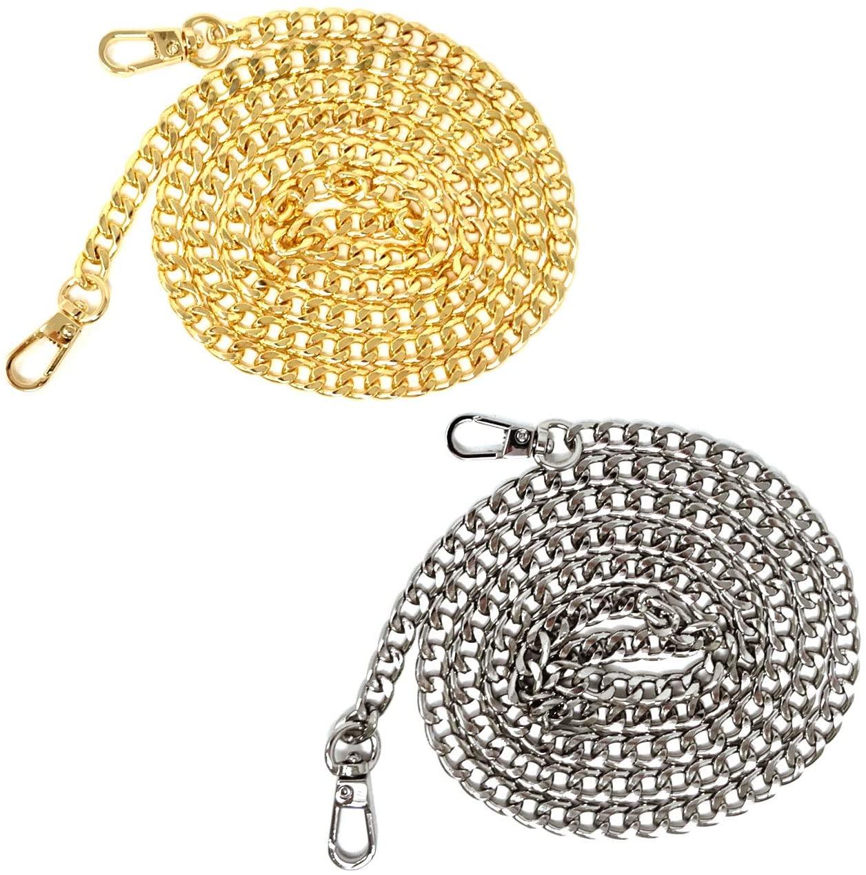 Honbay 2PCS Metal Flat Chain Straps with Buckles for DIY Shoulder Cross Body Bag Handbag Purse Replacement