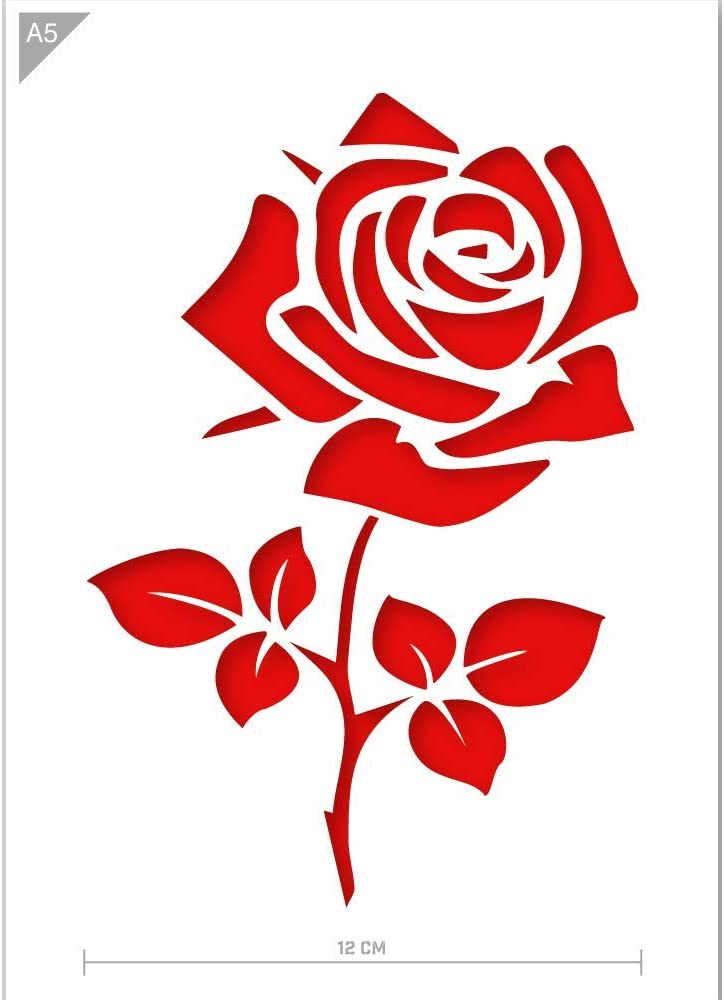 Qbix Rose Flower Stencil - A5 Size - Reusable Kids Friendly DIY Stencil for Painting, Baking, Crafts, Wall, Furniture