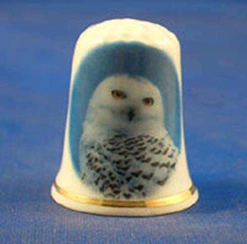 Porcelain China Collectable Thimble -- Snowy Owl with Free Gift Box