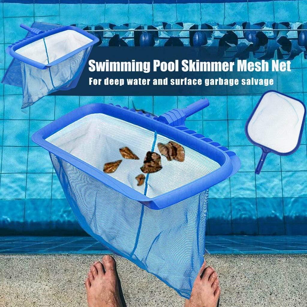 Deep-Bag Pool Rake & Swimming Leaf Skimmer Net, 2 PCS Swimming Pool Cleaning Leaf Skim Net, Swimming Pool Cleaner Supplies, Swimming Pool Leaf Nets for Cleaning Pool Rake Swimming Pool Leaf Net (Blue)