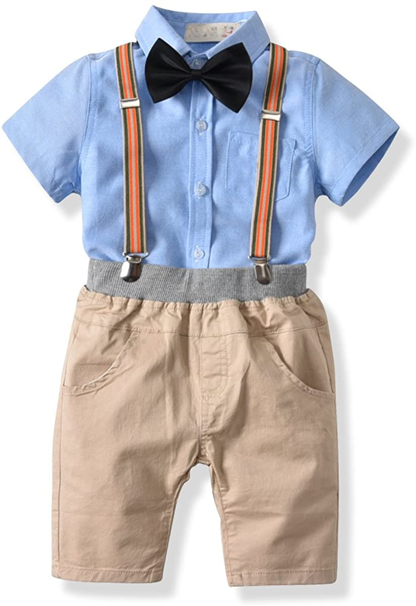 KINGSUNS Baby Boys Cotton Gentleman Bowtie Short Sleeve Shirt+Overalls Shorts Outfits 4pcs in one Set