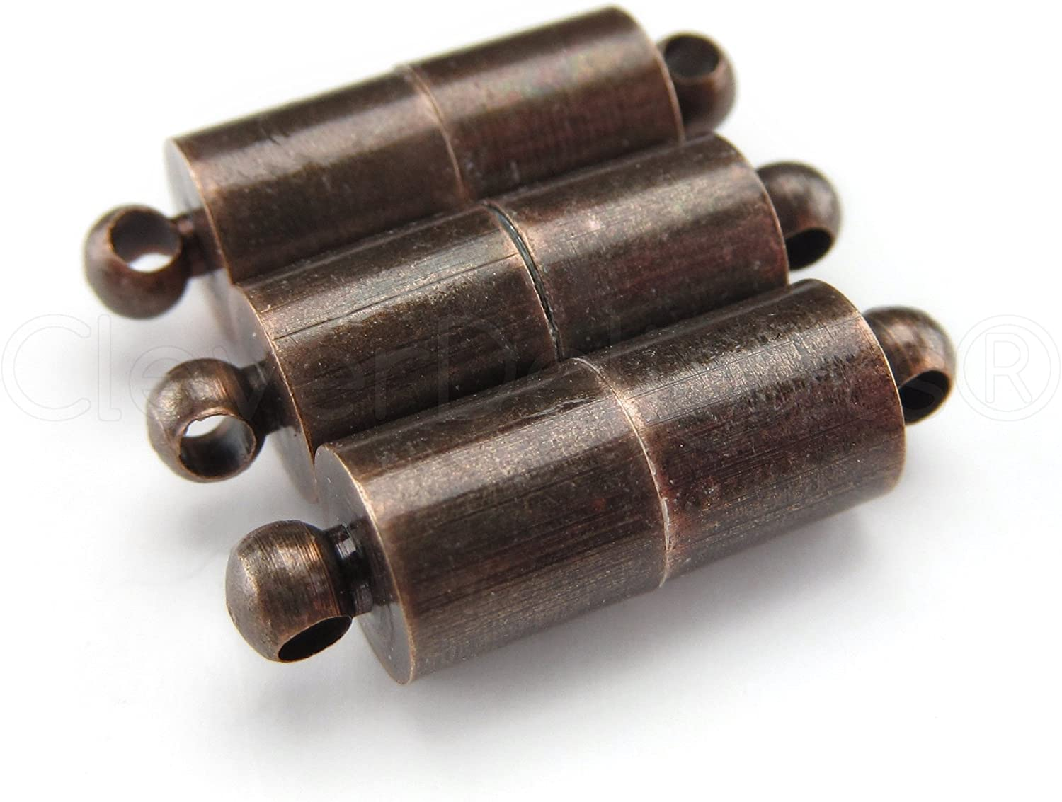 8 CleverDelights Magnetic Jewelry Clasps - Large Tube Style - Antique Copper Color - Clasp Converter
