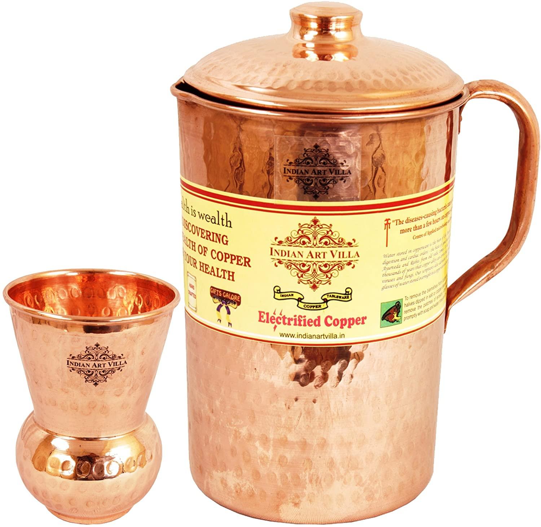 Indian Art Villa Handmade Pure Copper Hammered Pitcher Jug 71 OZ, 1 Glass Cup...