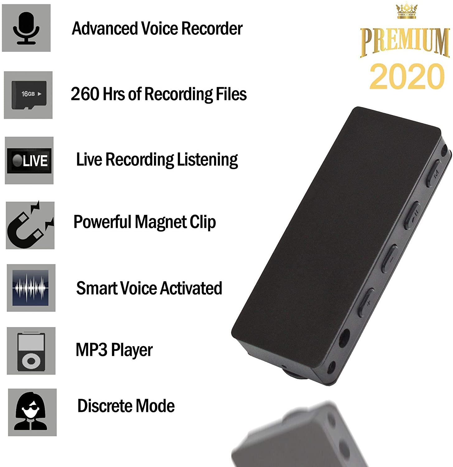 16GB Mini Voice Activated Recorder-TCTEC [Bonus Value] Easy to Use - Playback On The Go-MP3 Player -Live Recording Listening- Long Battery Life - Ultra Light - Durable…