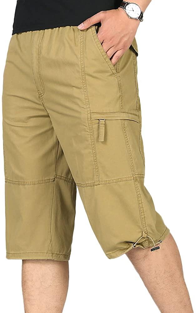 Chickle Men's Straight-Fit Cotton 3/4 Cargo Shorts XL Khaki