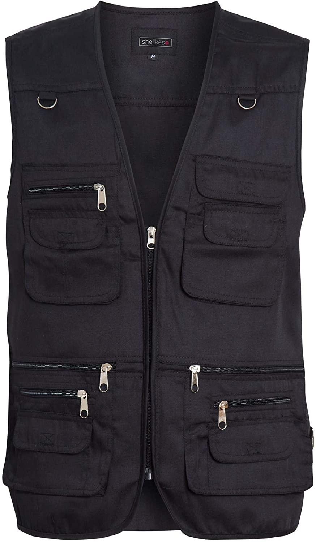 shelikes Mens Multi Pocket Vest Jacket Outdoor Fishing Camping Waistcoat Travelling Hiking Gilet
