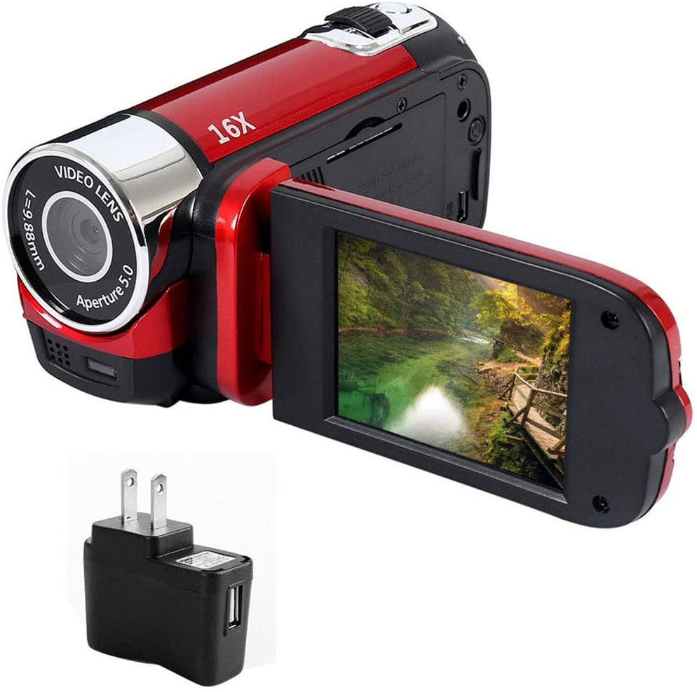 better18 HD 1080P Vlogging Camera, Digital Camera Camcorder 16MP 2.7-inch TFT-LCD Digital Video Recorder, 16 MP 16X Digital Zoom + LED Light Support 32G TF Card, for Sports Concerts