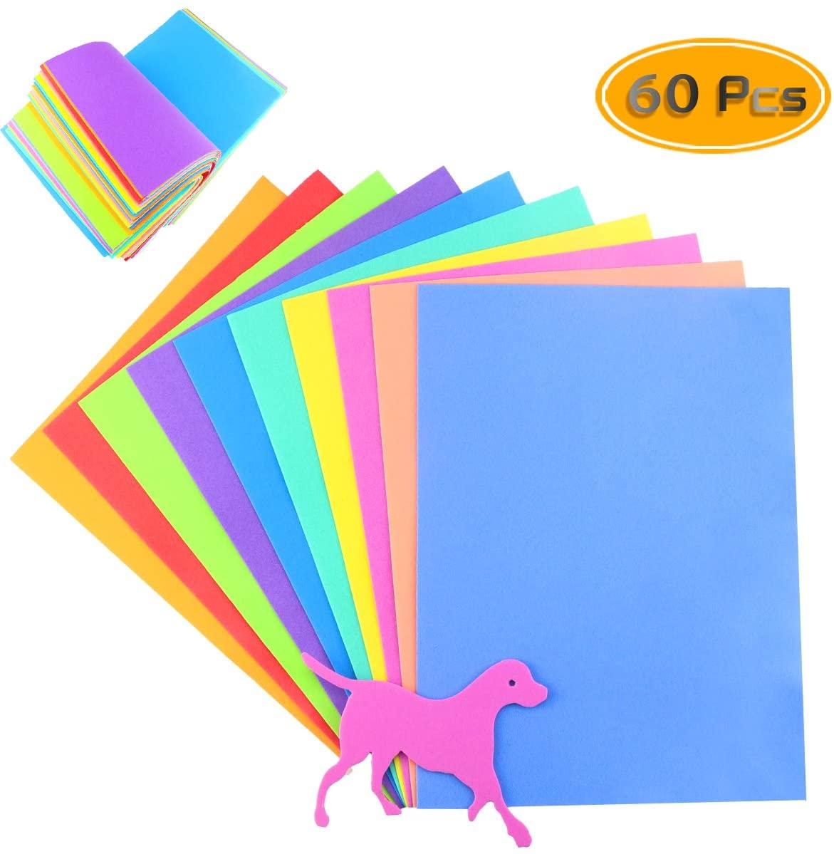 BcPowr 60PCS EVA Craft Foam Sheets, Foamie Sheets Rainbow Foam Handicraft Sheets Colorful Crafting Sponge For Arts DIY Projects, Classroom, Scrapbooking, Parties(10Color, 11