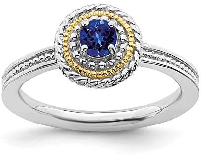 Sterling Silver & 14k Stackable Expressions Created Sapphire Ring