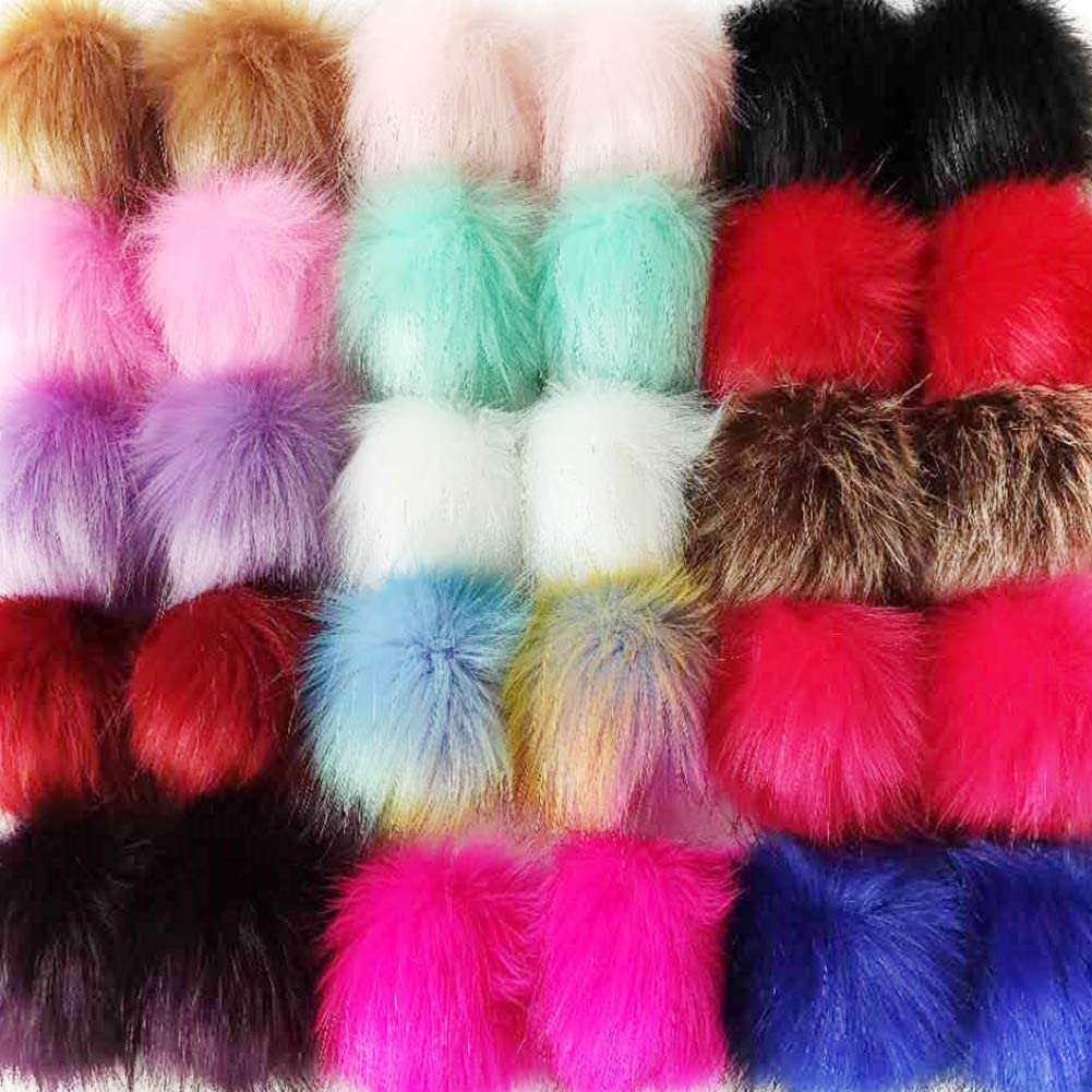 Cieovo 30 Pieces Faux Fur Pom Pom Balls DIY Faux Fox Fur Fluffy Pom Pom with Elastic Loop for Hats Scarves Gloves Bags Accessories (15 Bright Colors, 2 Pcs for Each Color)