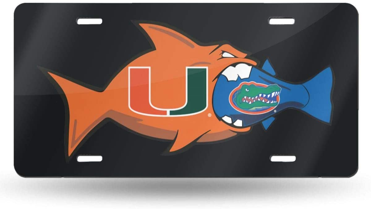 Gjfauehf Miami Hurricanes U 6x12 Inches Beautiful License Plate That is Easy to Clean