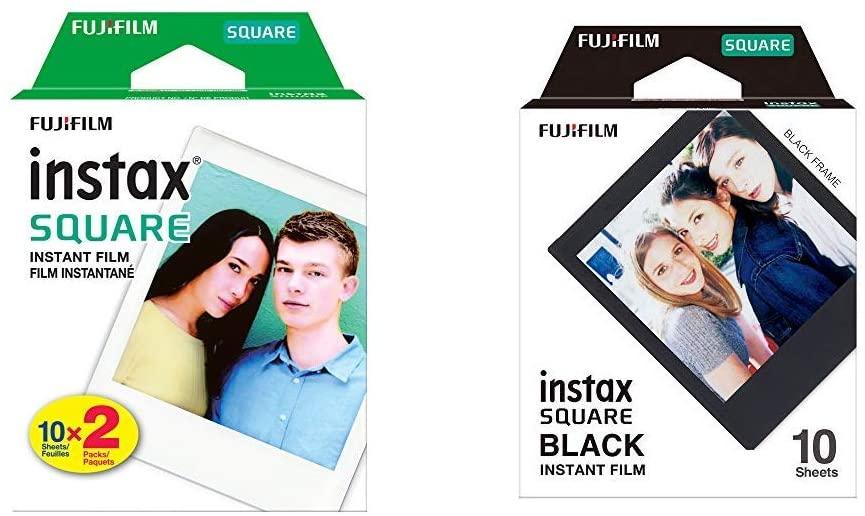 Fujifilm Instax Square Twin Pack Film - 20 Exposures &  Instax Square Black Film - 10 Exposures