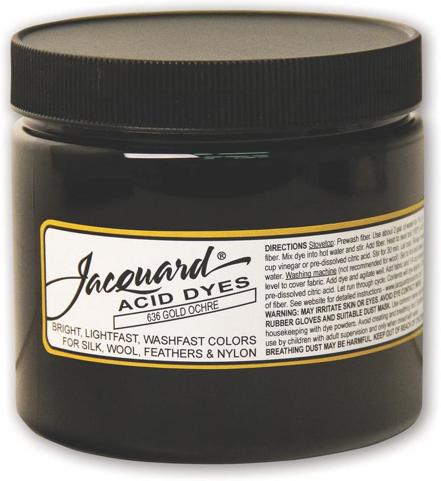 Jacquard Acid Dye for Wool, Silk and Other Protein Fibers, 8 Ounce Jar, Concentrated Powder, Gold Ochre 636