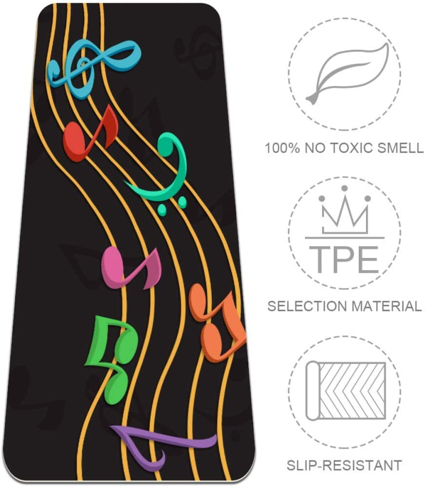 Desheze Colored Musical Notes Staves Yoga Mat Non-Slip Exercise Mat TPE Eco Friendly Thick 6mm Pilates Mat with Yoga Carrier Bag 72x24in