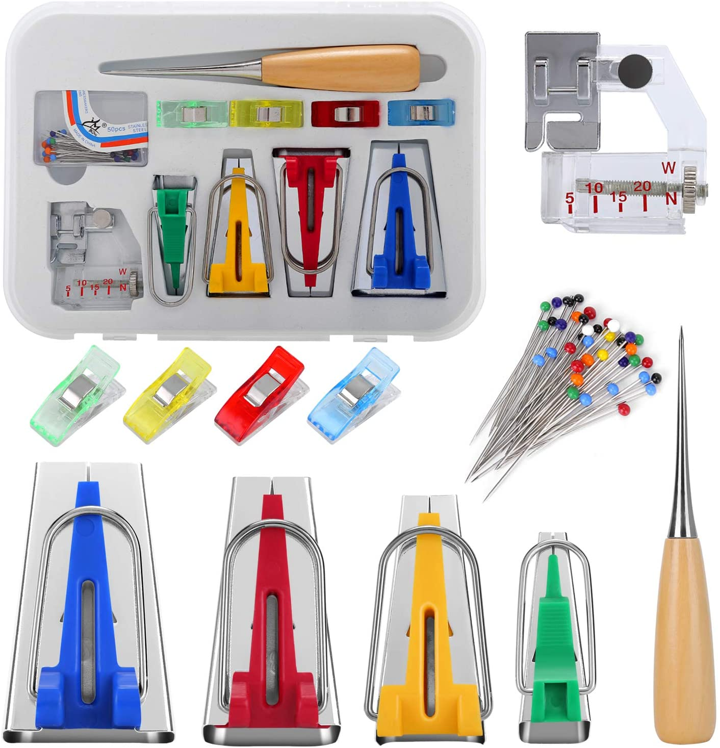 Bias Tape Maker Kit, RELIAN Bias Tape Maker Set with Instruction, Single/Double Fold Fabric Bias Tape Makers Kit Included Sewing Awl, Bead Needles, Adjustable Binder Clip for DIY Quilting Sewing