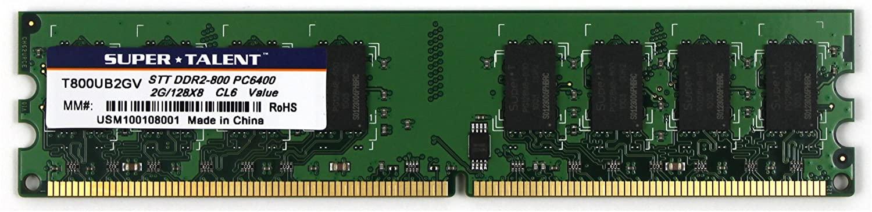 Super Talent DDR2-800 2GB/128x8 Memory T800UB2GV