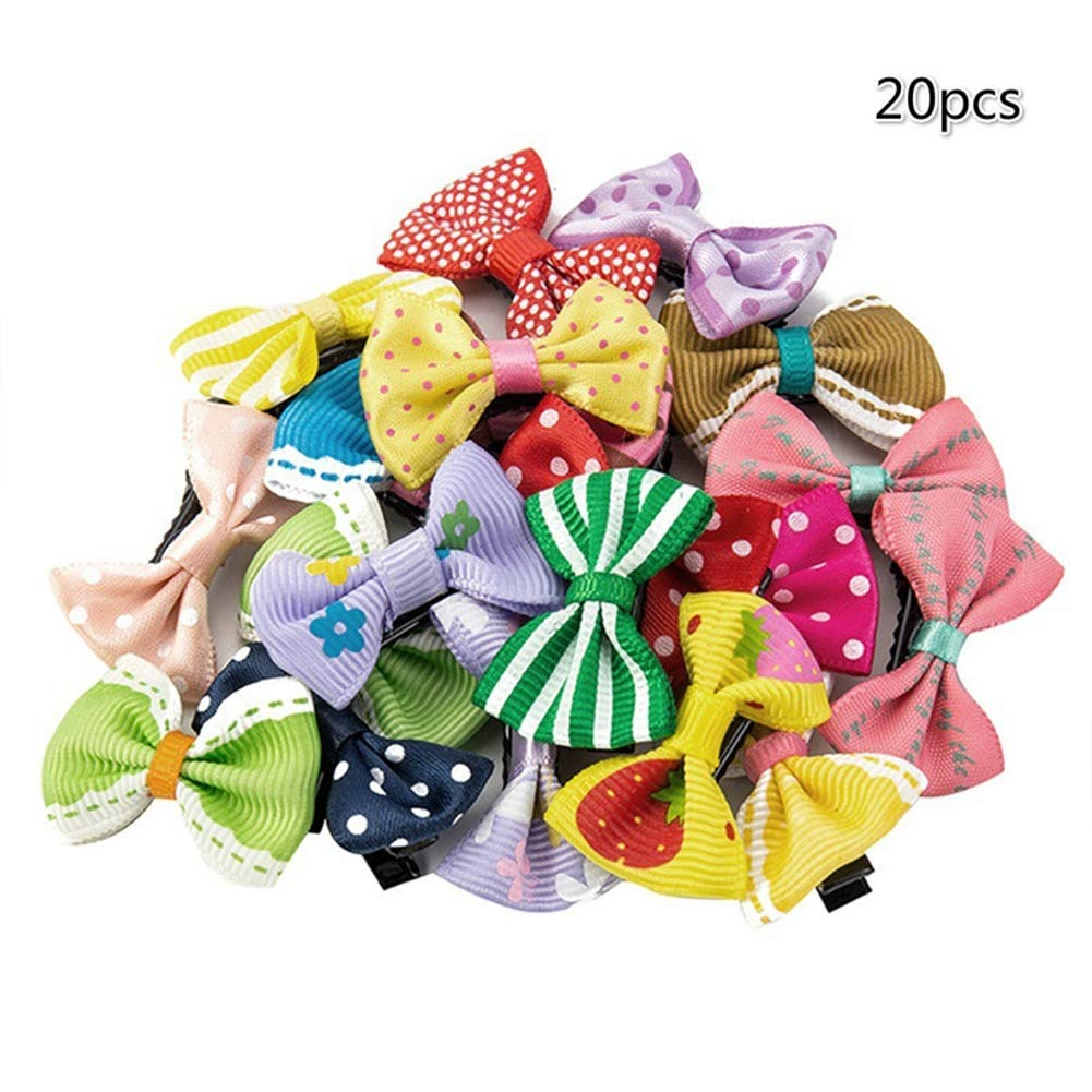 super1798 20Pcs Mixed Color Flower Dot Bowknot Hair Clips Kids Baby Girls Hairpin Set Random Color