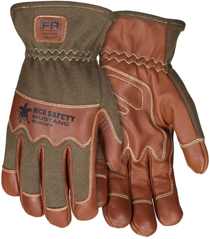 MCR Safety MU3624FRXL Mustang Utility Driver Glove, Grain Goat Double Palm Unlined, Nomex Back, Kevlar Sewn, Wing Thumb, Hand Protection, Utility, Construction, 1-Pair, X-Large