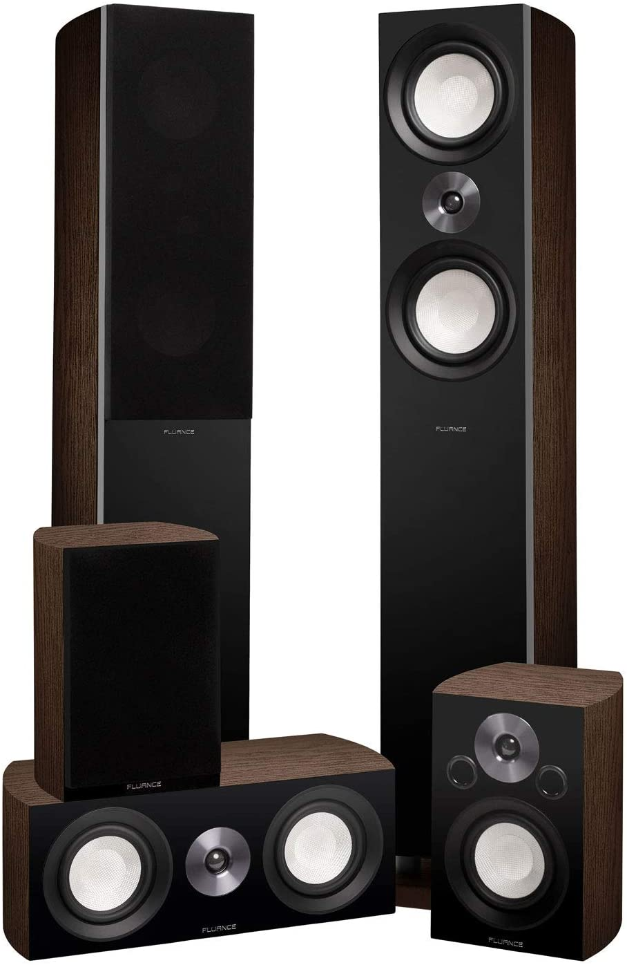 Fluance Reference Surround Sound Home Theater 5.0 Channel Speaker System Including 3-Way Floorstanding Floorstanding Towers, Center Channel, and Rear Surround Speakers - Walnut (XL8HTBW)